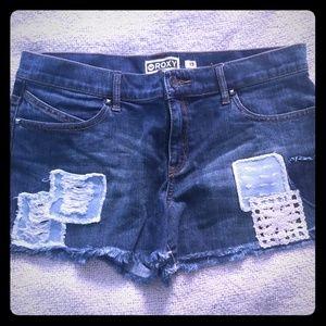 Roxy denim zip up shorts, size 13